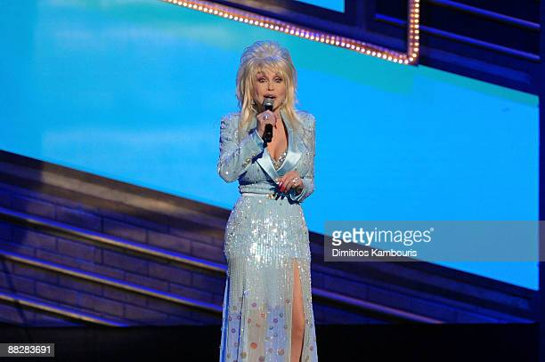 Dolly Parton performs a song from 9 to 5 The Musical on stage during the 63rd Annual Tony Awards at Radio City Music Hall on June 7 2009 in New York...