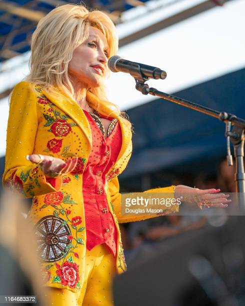 Dolly Parton performs during the the Newport Folk Festival 2019 it's 60th anniversary at Fort Adams State Park on July 27 2019 in Newport Rhode Island