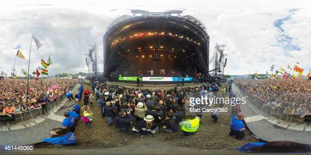 Dolly Parton performs on the main Pyramid Stage at the Glastonbury Festival on June 29 2014 in Glastonbury England Gates opened on Wednesday at the...