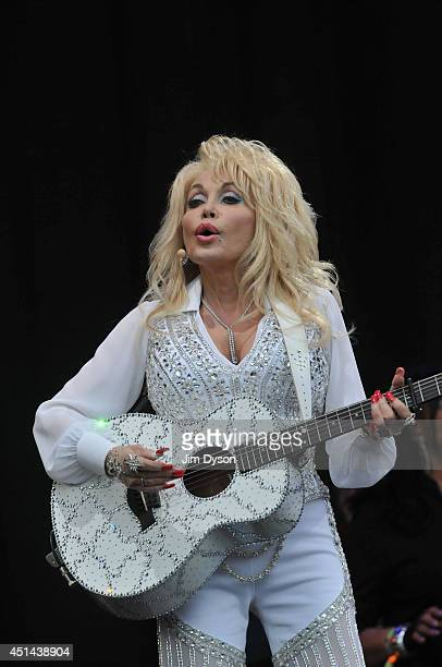 Dolly Parton performs on the Pyramid stage during day three of the Glastonbury Festival at Worthy Farm in Pilton on June 29 2014 in Glastonbury...