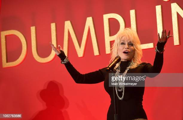 Dolly Parton performs onstage at a luncheon for the Netflix Film Dumplin' at Four Seasons Hotel Los Angeles at Beverly Hills on October 22 2018 in...