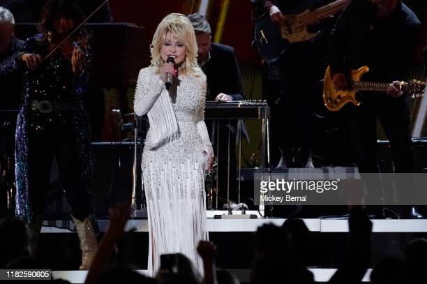 Dolly Parton performs onstage at the 53rd annual CMA Awards at the Bridgestone Arena on November 13 2019 in Nashville Tennessee
