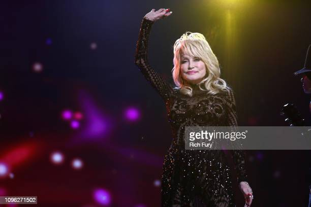 Dolly Parton performs onstage during MusiCares Person of the Year honoring Dolly Parton at Los Angeles Convention Center on February 8, 2019 in Los...