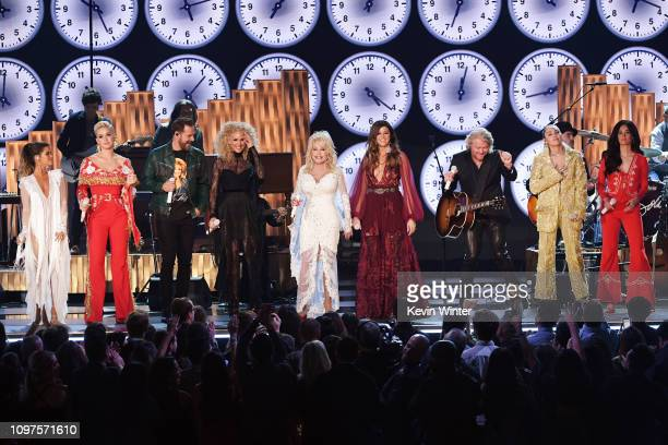 Dolly Parton performs with Maren Morris Katy Perry Jimi Westbrook Kimberly Schlapman Karen Fairchild and Philip Sweet of Little Big Town Miley Cyrus...