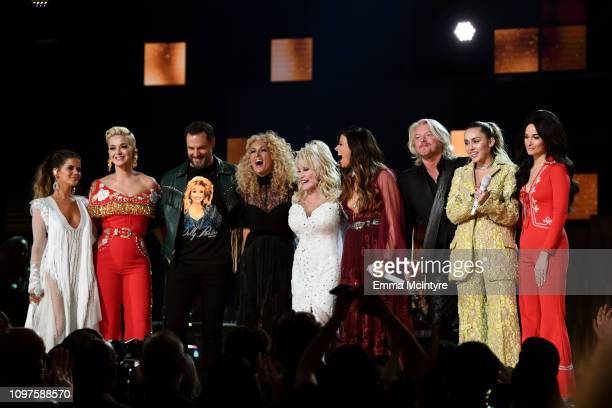 Dolly Parton performs with Maren Morris Katy Perry Jimi Westbrook Kimberly Schlapman Karen Fairchild Philip Sweet Miley Cyrus and Kacey Musgraves...