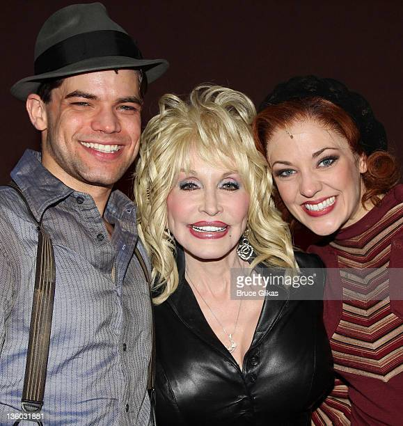 Dolly Parton poses backstage with cast members Jeremy Jordan and Laura Osnes at the musical Bonnie and Clyde on Broadway at The Gerald Schoenfeld...