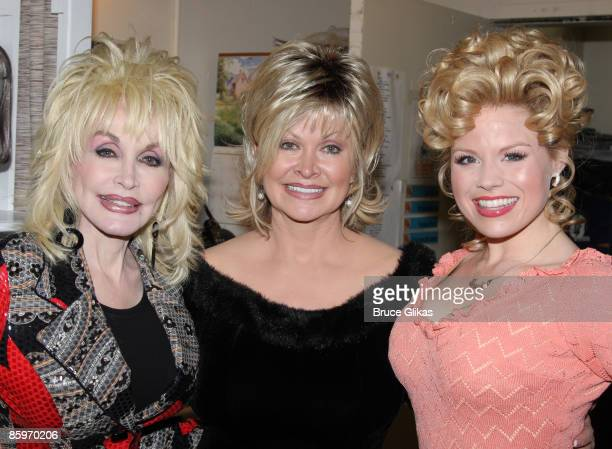Dolly Parton sister Rachel Parton Dennison and Megan Hilty pose backstage at the hit new musical 9 to 5 on Broadway at The Marquis Theatre on April...