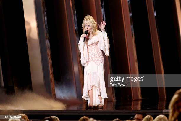 Dolly Parton speaks onstage during the 53rd annual CMA Awards at the Bridgestone Arena on November 13, 2019 in Nashville, Tennessee.