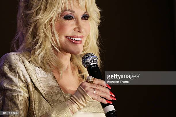 Dolly Parton talks to the media at a press conference at the InterContinental Sydney on November 10, 2011 in Sydney, Australia.