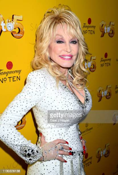 "Dolly Parton visits The Cast of ""9 To 5"" The Musical at The Savoy Theatre on February 17, 2019 in London, England."