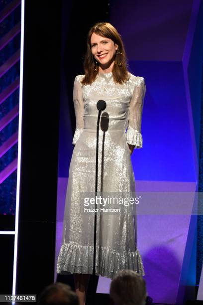 Dolly Wells speaks onstage at the 18th Annual AARP The Magazine's Movies For Grownups Awards at the Beverly Wilshire Four Seasons Hotel on February...