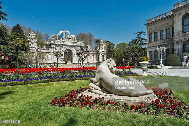 Dolmabahce Sarayi located in the Besiktas district of Istanbul Turkey on the European coastline of the Bosphorus strait served as the main...