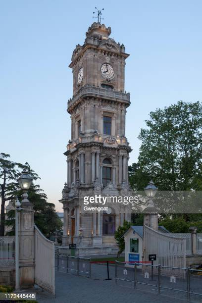 dolmabahçe clock tower in istanbul - gwengoat stock pictures, royalty-free photos & images