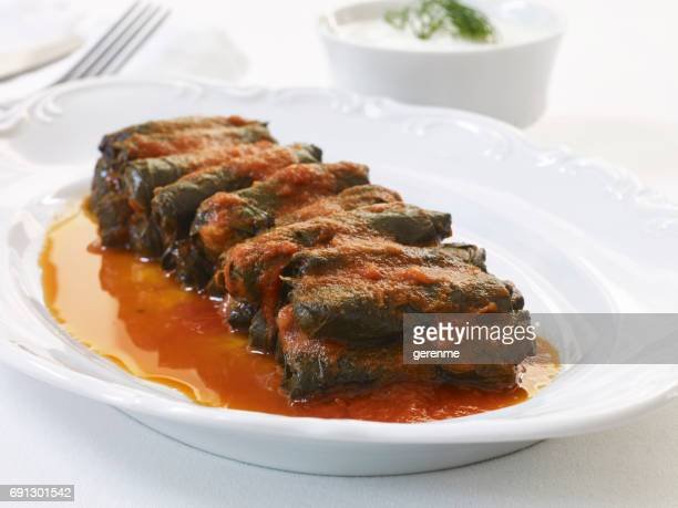 dolmades dish - persian stock photos and pictures