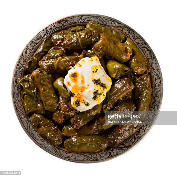 dolmades, stuffed grape leaves - dolmades stock pictures, royalty-free photos & images