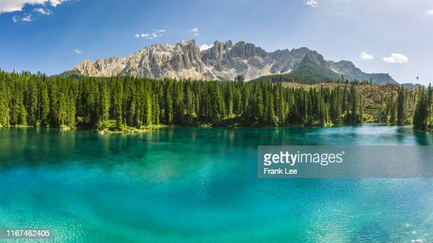 dolomite alps, lago carezza, south tyrol, italy, europe - reflection lake stock pictures, royalty-free photos & images