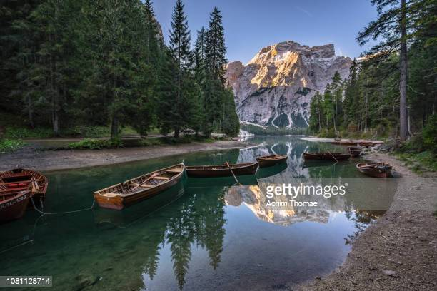 dolomite alps, pragser wildsee, south tyrol, italy, europe - beschaulichkeit stock pictures, royalty-free photos & images