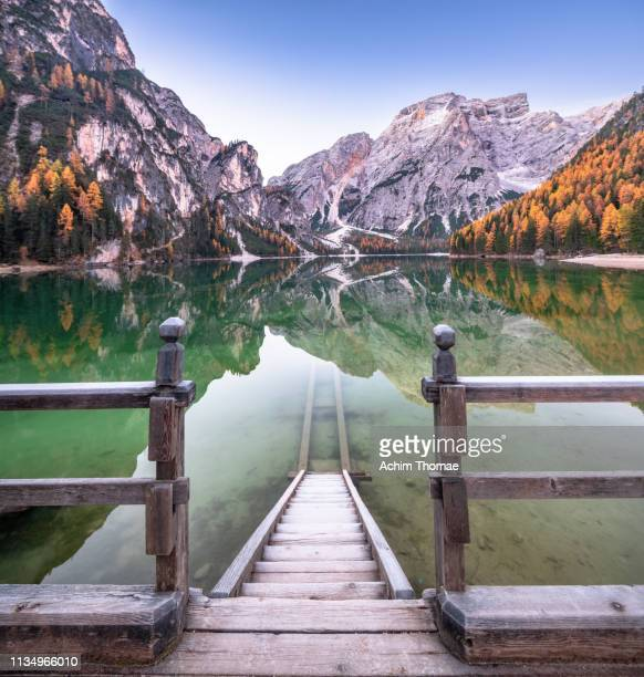 dolomite alps, pragser wildsee, south tyrol, italy, europe - unesco world heritage site stock pictures, royalty-free photos & images