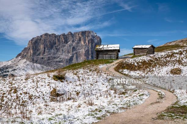 dolomite alps, south tyrol, italy, europe - schneebedeckt stock pictures, royalty-free photos & images