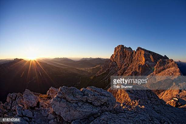 Dolomite mountains at sunset, Dolomites, Italy