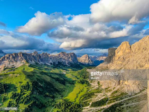 dolomites mountains at the gardena pass italy - alta badia stock pictures, royalty-free photos & images