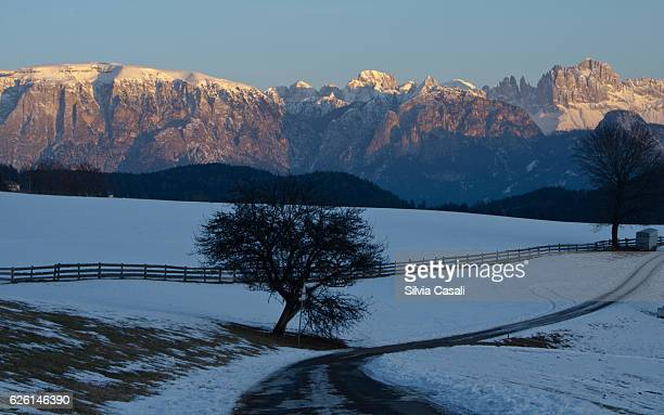 dolomites panorama at sunset - silvia casali stock pictures, royalty-free photos & images