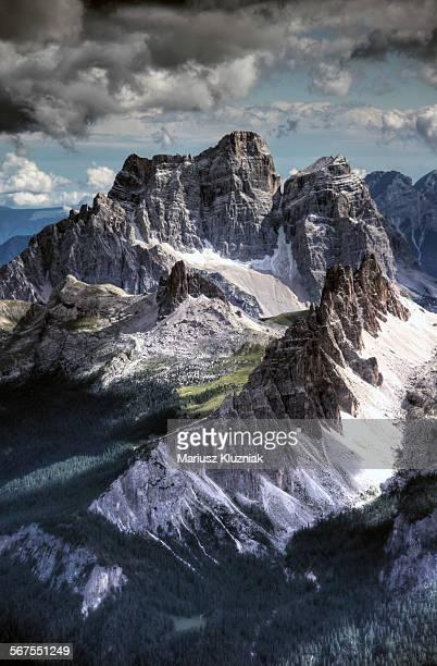 Dolomites peaks view from Lagazuoi mountain