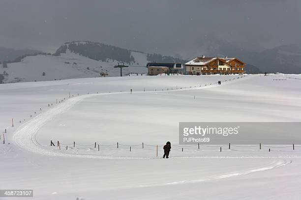 dolomites (siusi alp) - people walking on the snow - pjphoto69 stock pictures, royalty-free photos & images