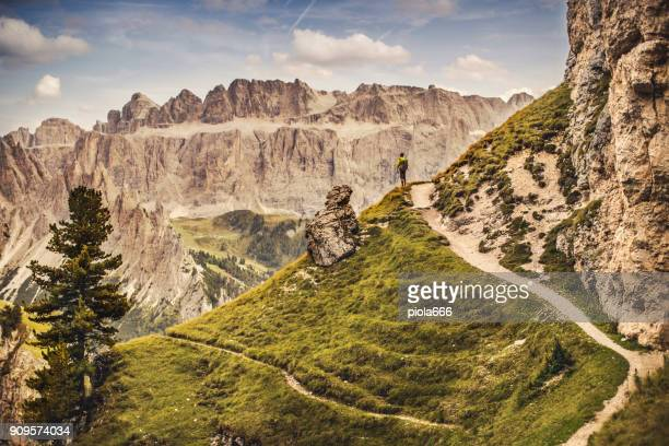 Dolomites scenics view: man hiking