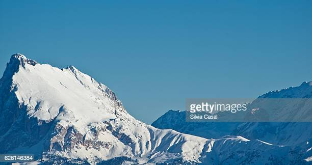 dolomites with snow - silvia casali stock pictures, royalty-free photos & images