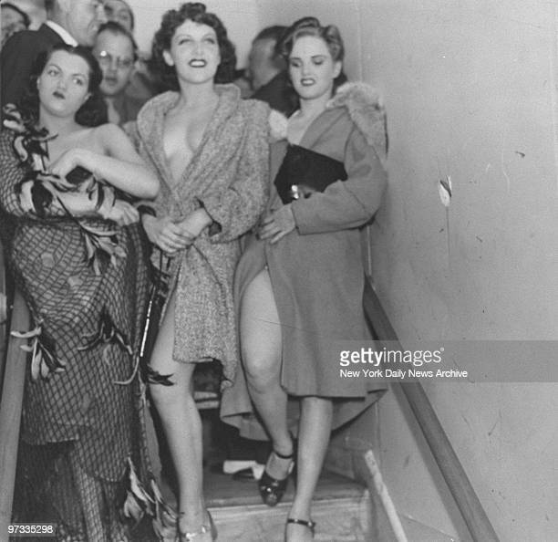 Dolores and Marge Berk and Ann Wilson three of the four women arrested during a nude contest at the World's Fair Cuban Village on their way to the...