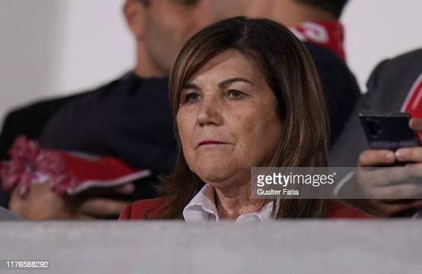 Dolores Aveiro, mother of Cristiano Ronaldo before the start of the Portuguese Cup match between CD Cova da Piedade and SL Benfica at Estadio...