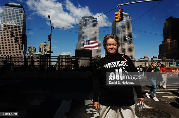 """Dolores Bentrham, of New York City wears a shirt reading """"Investigate 911"""" during the fifth anniversary memorial of the September 11th attack on the..."""