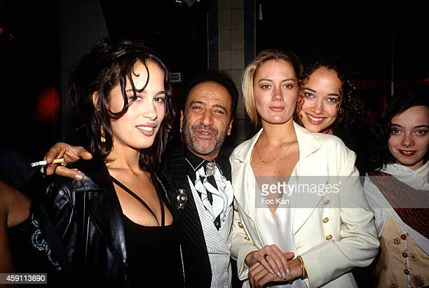 Dolores Chaplin Claude Challe Emma and Carmen Chaplin attend a fashion week Party at Les Bains Douches in the 1990s in Paris France
