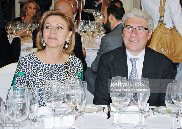 Dolores de Cospedal and Casimiro Garcia Abadillo attend 'Paquiro Bullfighting Awards 2014' at Ritz Hotel on May 28 2014 in Madrid Spain