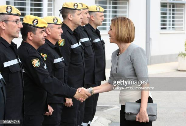 Dolores de Cospedal attends Military Emergency Unit headquarters on May 18 2018 in Torrejon De Ardoz Spain
