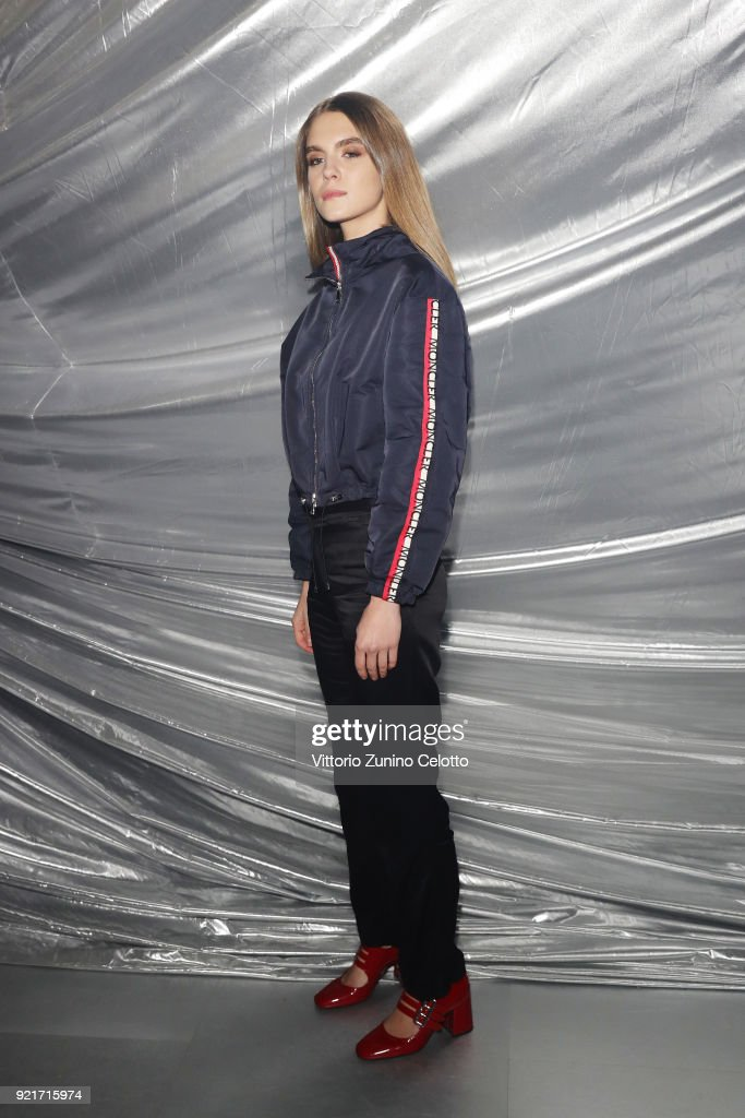 Dolores Doll attends Moncler Genius during Milan Fashion Week on February 20, 2018 in Milan, Italy.