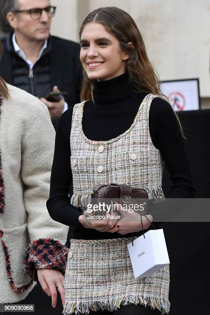 Dolores Doll is seen arriving at Chanel Fashion show during Paris Fashion Week Haute Couture Spring/Summer 2018 on January 23 2018 in Paris France