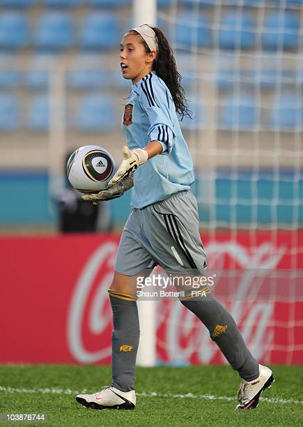 Dolores Gallardo of Spain in action during the FIFA U17 Women's World Cup Group C match between Spain and Japan at the Ato Boldon Stadium on...