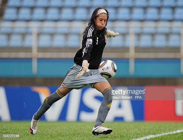 Dolores Gallardo of Spain in action during the FIFA U17 Women's World Cup Quarter Final match between Spain and Brazil at the Ato Boldon Stadium on...
