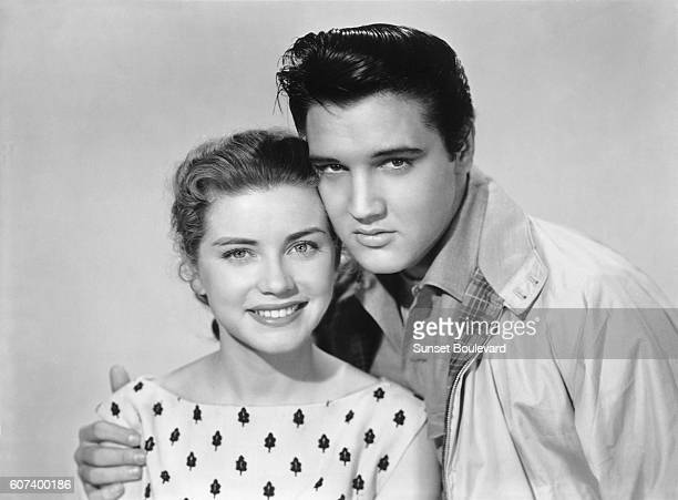 Dolores Hart and Elvis Presley promoting King Creole