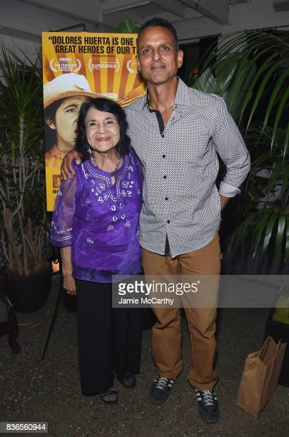 Dolores Huerta and director Brian Bratt attend the 'Dolores' New York Premiere after party at The Metrograph on August 21 2017 in New York City