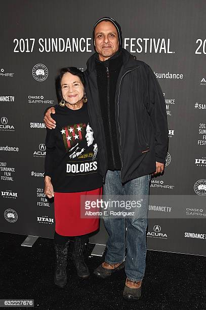 Dolores Huerta and Director Peter Bratt attend the 'Dolores' premiere during day 2 of the 2017 Sundance Film Festival at Library Center Theater on...