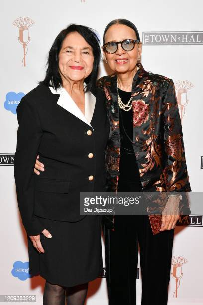 Dolores Huerta and Gail Lumet Buckley attend The Lena Horne Prize for Artists Creating Social Impact inaugural celebration at The Town Hall on...
