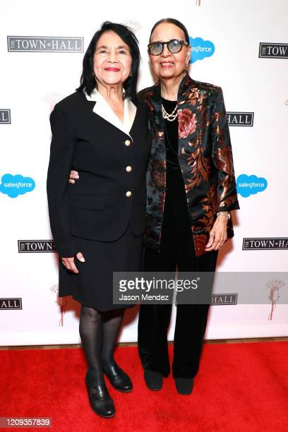 Dolores Huerta and Gail Lumet Buckley attend the Lena Horne Prize Event Honoring Solange Knowles Presented by Salesforce at the Town Hall on February...
