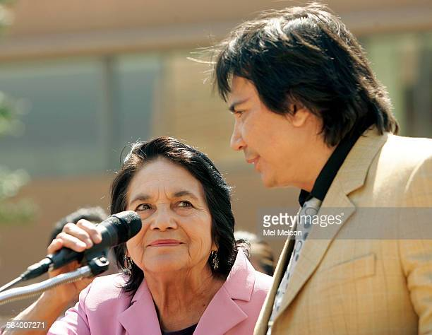 Dolores Huerta co–founder of the United Farm Workers of America and radio personality Renan Aldares Cuello also known as 'El Cucuy' speak to the...