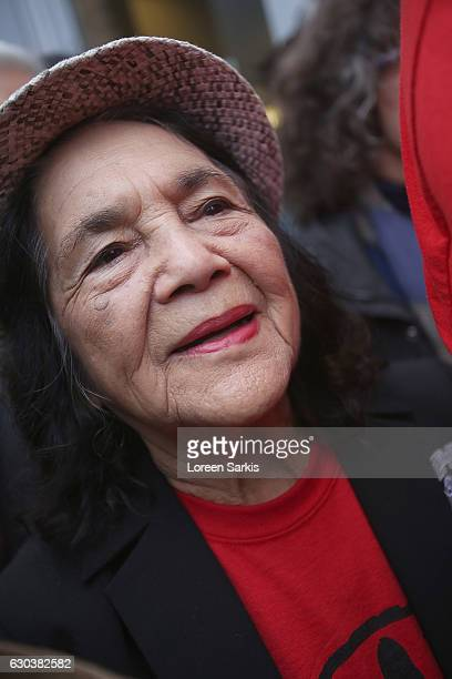 Dolores Huerta CoFounder of United Farm Workers attends #BankExit Rally on December 21 2016 in Los Angeles California