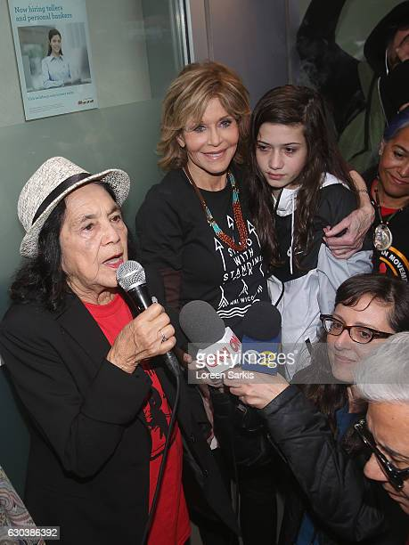 Dolores Huerta Jane Fonda and Viva Vadim attend #BankExit Rally on December 21 2016 in Los Angeles California