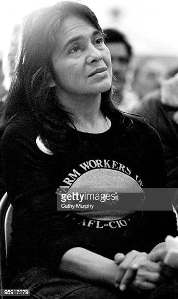 Dolores Huerta labor activist and cofounder of the United Farm Workers of America attends a labor rally at Calexico CA ca1975