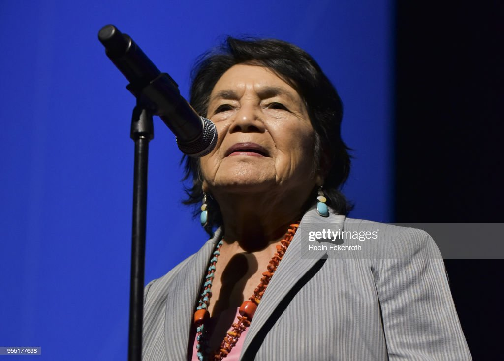 Dolores Huerta speaks on stage at The United State of Women Summit 2018 - Day 1 on May 5, 2018 in Los Angeles, California.